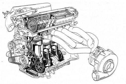 Il primo motore turbo a vincere un mondiale di Formula Uno è stato il BMW 1500 a quattro cilindri, nel 1983. Si notino la conformazione del collettore di scarico e la posizione del turbocompressore