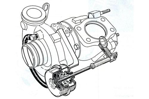 Il disegno consente di osservare la struttura della capsula di controllo, del tipo a molla e diaframma, e i suoi collegamenti (meccanico con la wastegate e pneumatico con il compressore)