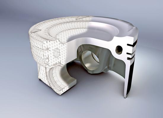 Nei motori fortemente sovralimentati i pistoni sono molto sollecitati termicamente e per raffreddarli si ricorre a una canalizzazione anulare nella quale viene fatto circolare dell'olio. L'immagine si riferisce a un pistone Federal Mogul destinato a un motore automobilistico
