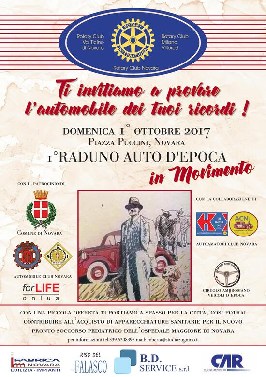 1° Raduno di Auto d'Epoca in movimento. Un giro a Novara per beneficenza