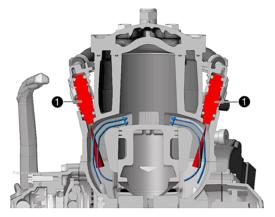 """Questa sezione del cilindro consente di osservare la disposizione degli iniettori (1), che emettono getti di carburante """"controcorrente"""", ovvero orientati in direzione opposta rispetto al flusso gassoso che percorre i condotti di travaso"""