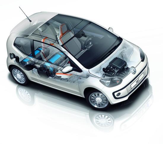 Gli elementi dell'impianto metano posizionati su una small VW