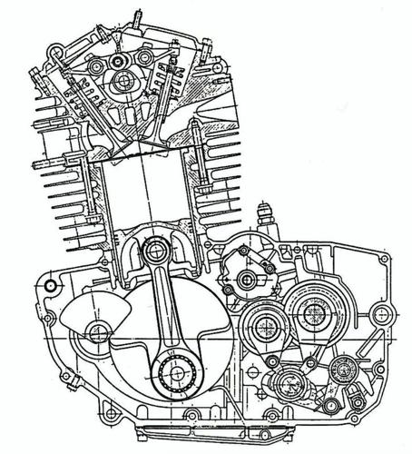 La sezione consente di apprezzare chiaramente la semplice e razionale struttura del motore Rotax. L'albero a camme, comandato da una cinghia dentata, aziona quattro valvole inclinate tra loro di 49°. Si può notare l'albero ausiliario di equilibratura collocato nella parte anteriore del basamento