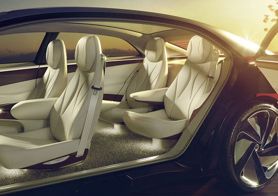 Gli interni della concept Volkswagen I.D. Vizzion, presentata al Salone di Ginevra 2018