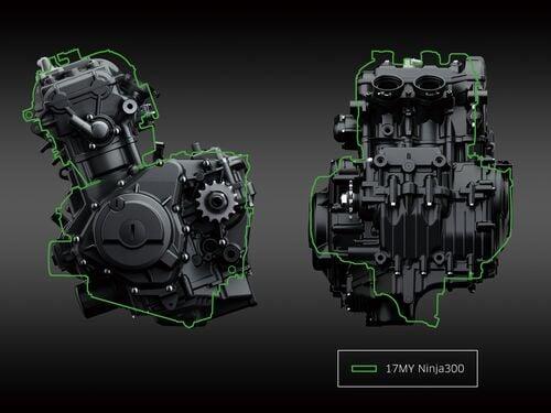 Lo spaccato del motore della Ninja 400 con il profilo dell'esemplare precedente