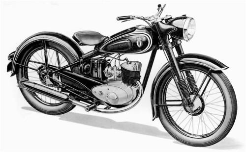 In Germania quasi tutte le moto utilitarie hanno continuato ad essere prive di sospensione posteriore fino ai primi anni Cinquanta. Questa è una DKW RT 125 del 1953