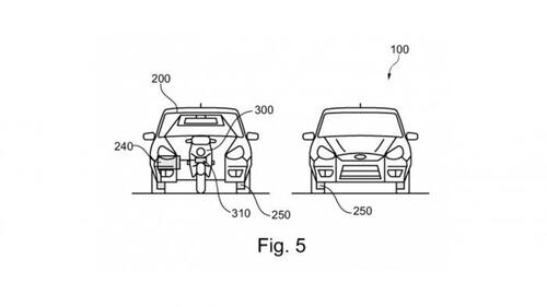 Ford brevetta l'auto che ospita uno scooter al proprio interno (5)