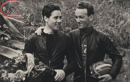 San Remo-Ospedaletti 1952, con Geoff Duke, a destra
