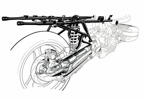 Il disegno mostra la prima versione della sospensione posteriore BMW Paralever, con braccio oscillante articolato nella zona di fissaggio della scatola della coppia conica. La soluzione consente di ridurre le variazioni di assetto in accelerazione e in rilascio