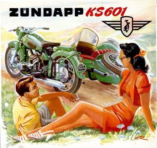 """In Germania i sidecar hanno goduto a lungo di una grande popolarità. La Zundapp KS 601 a due cilindri orizzontali contrapposti con trasmissione ad albero (che gli appassionati chiamavano """"elevante verde"""") forniva ottime prestazioni"""