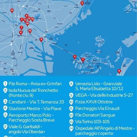 La piantina del car sharing Toyota a Venezia