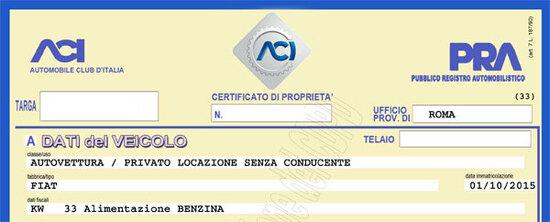 Il CDP di un'auto si deve controllare per le procedure di fermo amministrativo