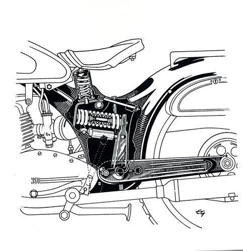 L'idea di dotare la sospensione posteriore di un singolo elemento molleggiante non è nuova. Quella qui mostrata è la razionale soluzione impiegata dalla NSU negli anni Cinquanta