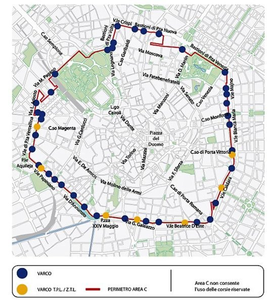 La mappa della Area C a Milano - sempre attiva in agosto, tranne il giorno 15