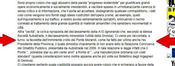 Le frasi incriminate, dalla pagina del sito M5S su Genova nel 2013