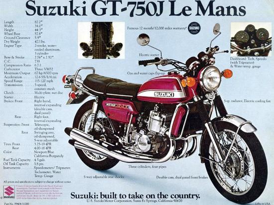 Suzuki GT 750 in una locandina americana dell'epoca