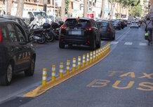 Roma: i nuovi cordoli per le corsie del bus sono trappole per moto e scooter!