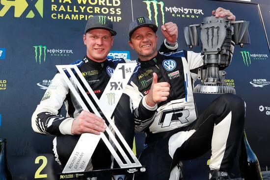Johan Kristofferson (a sinistra), vincitore nel round tedesco del WRX