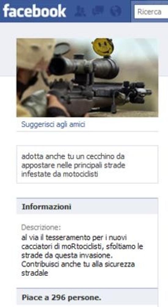 Facebook: nasce una pagina che incita alla violenza sui motociclisti
