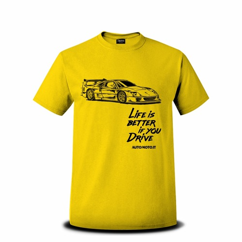 T-shirt con logo vintage della Ferrari F40 e scritta Life is better if you drive
