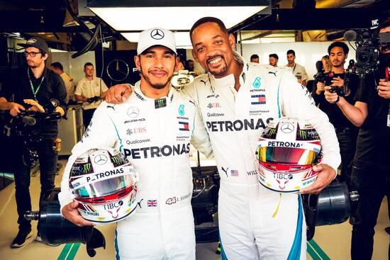 Lewis Hamilton con Will Smith ad Abu Dhabi