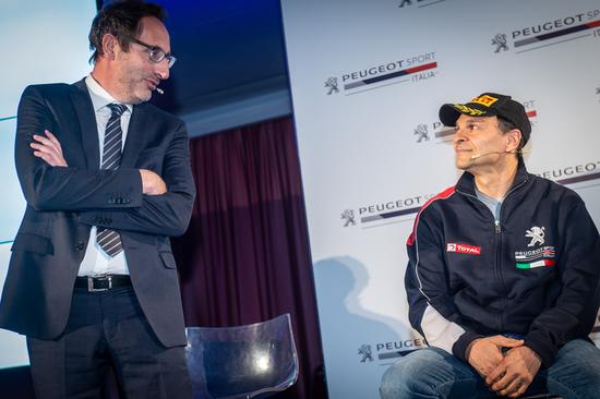 Andreucci, nuovo Tutor Peugeot nei Rally, con uno dei boss di PSA Italia, Carlo Leoni