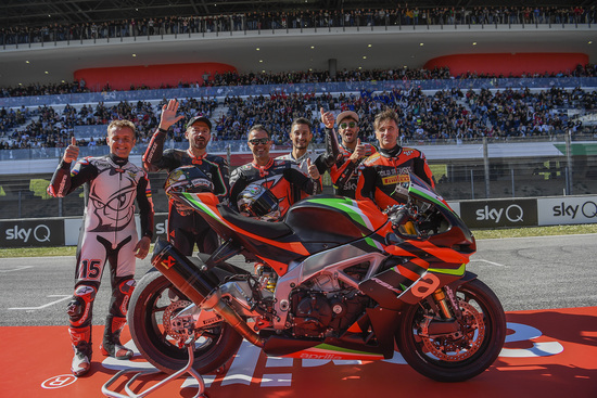 Da sinistra, Roberto Locatelli, Max Biaggi, Manuel Poggiali, Andrea Iannone e Alex Gramigni