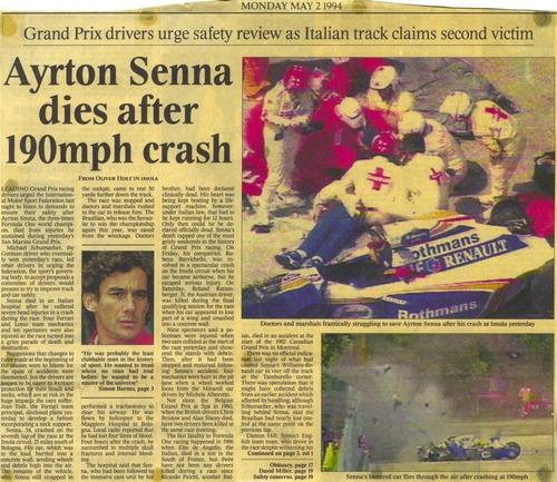 F1: Senna, 25 anni dopo: i titoli dei giornali dell'epoca (3)