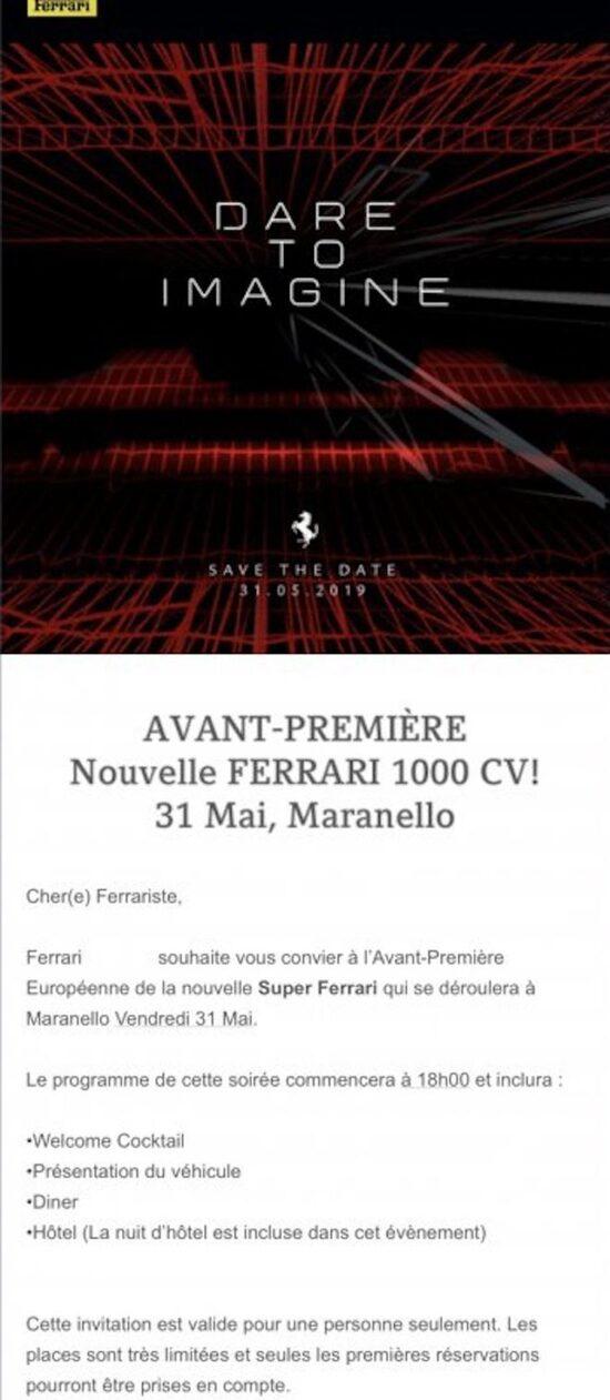 L'invito che contiene la menzione ai cavalli della nuova supercar di Maranello