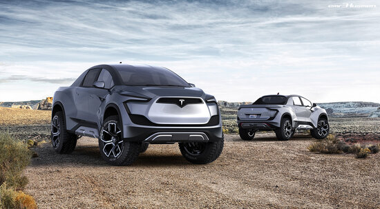 Il rendering del futuro pick-up Tesla