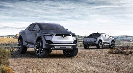 Il rendering del futuro pick-up Tesla