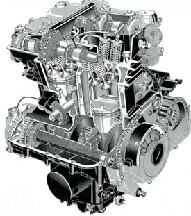 La foto mostra l'albero ausiliario di equilibratura a due masse di una Kawasaki EN 500 (il motore è mostrato nell'immagine precedente). Comandato mediante ingranaggi, ruota con la stessa velocità dell'albero a gomiti ma in senso opposto