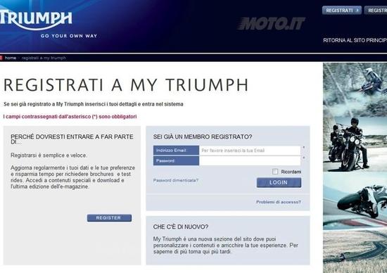 Nuovo sito Internet Triumph