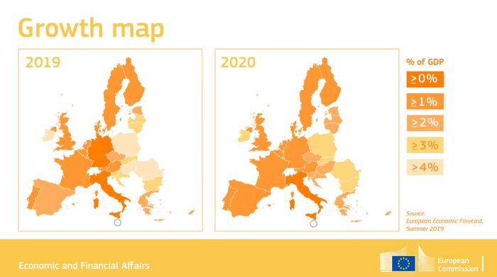 Le stime di crescita dei paesi UE per il 2019 della Commissione Europea