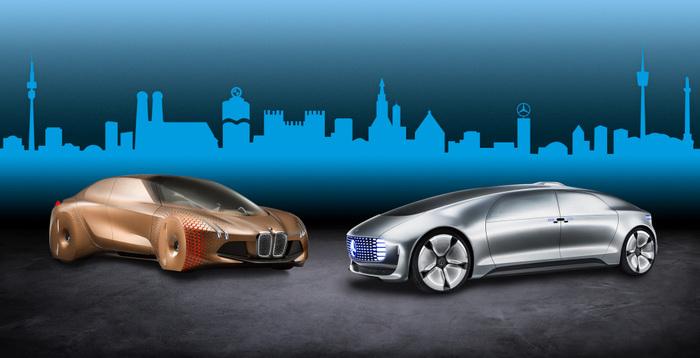 Due prototipi elettrici di BMW e Daimler. I due costruttori si sono appena alleati per collaborare su auto elettriche e a guida autonoma abbattendo i costi. Ma ad oggi le EV rappresentano appena l'1,5% del mercato mondiale