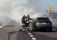 Autostrada A31, Audi Q8 si incendia. Illeso l'autista