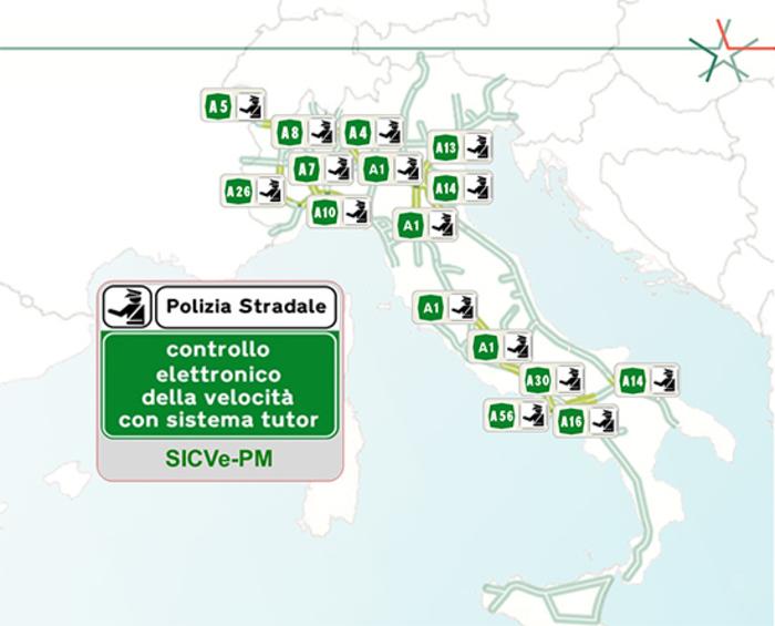 Rete Autostradale Italiana Cartina.Tutor Attivi In Autostrada La Mappa Aggiornata News Automoto It