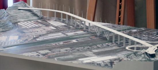 Il plastico del futuro viadotto autostradale di Genova, frutto della progettazione di Renzo Piano