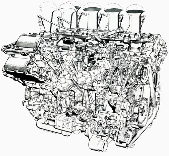 Il motore Cosworth DFV di 3000 cm3 ha segnato un'era, imponendosi nel mondiale di Formula Uno ben 12 volte in 15 anni. Nel disegno si possono apprezzare le principali caratteristiche, a cominciare dalla distribuzione bialbero a quattro valvole per cilindro comandata mediante ingranaggi