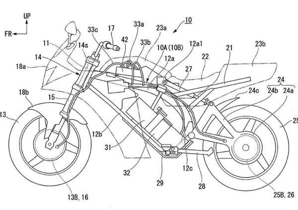 Honda deposita i brevetti per una moto elettrica sportiva