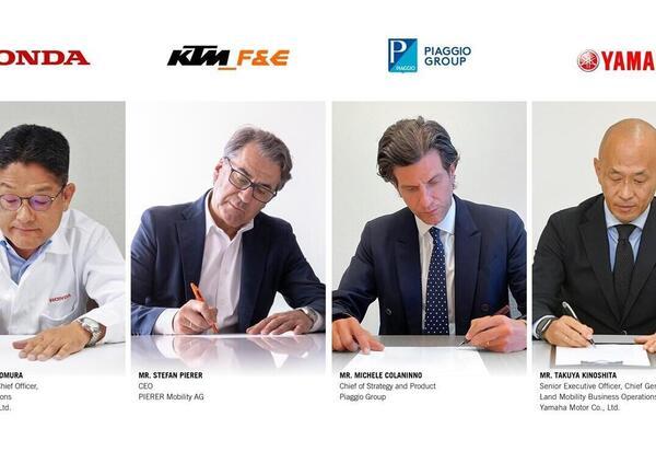 Honda, KTM, Piaggio e Yamaha firmano per uno standard di batterie