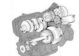 """La BMW K75 apparsa nel 1985 aveva il motore tricilindrico """"a sogliola"""" con raffreddamento ad acqua e albero ausiliario di equilibratura (evidenziato nell'immagine)."""
