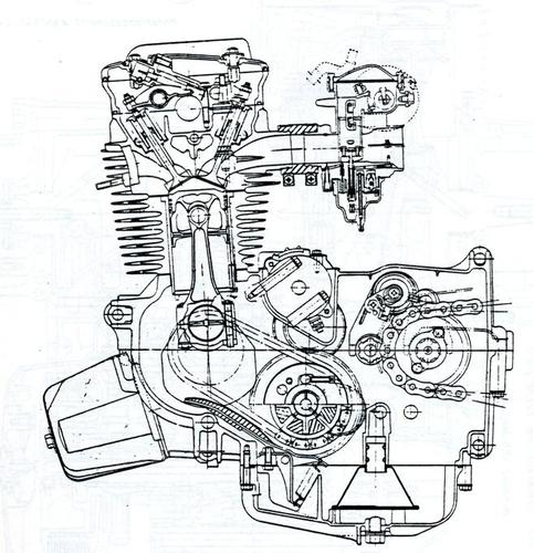 Sezione longitudinale del motore della CB 650, ultima evoluzione del quattro cilindri monoalbero della 500. Si notino l'angolo tra le valvole ridotto (per l'epoca) e la disposizione dell'albero ausiliario della trasmissione primaria