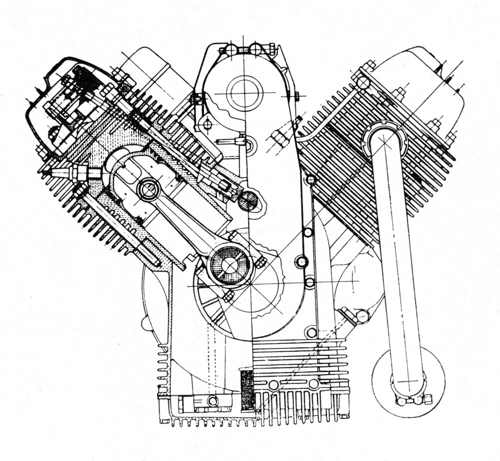 Il motore Guzzi V7, presentato nel 1965, ha dato inizio a una grande famiglia di bicilindrici a V trasversale di 90°, imponendo definitivamente questo schema costruttivo alla attenzione mondiale