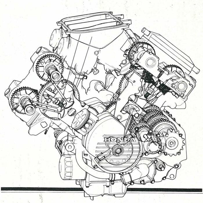 La trasparenza del V4 della prima VFR 750F con distribuzione comandata da ingranaggi
