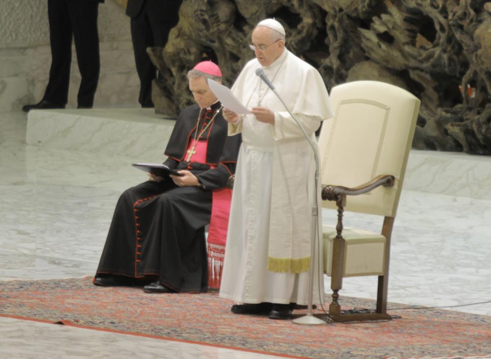 Papa Francesco durante il discorso