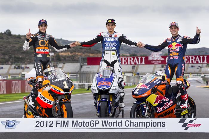 Nel 2012 Akrapovic ha conquistato il titolo in tutte e tre le classi del Motomondiale