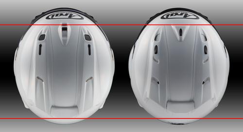 La maggior lunghezza dei diffusori RX-7V è evidente dal confronto con il GP