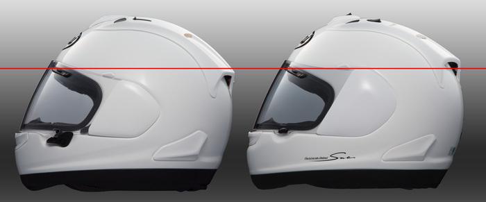 Il confronto fra l'altezza visiere di RX-7GP ed RX-7V