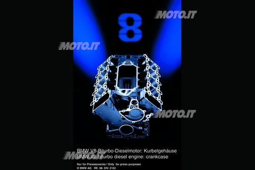 Blocco V8 diesel BMW: basamento di motore auto con due bancate di cilindri (disposte a V di 90°). E' in ghisa, con canne integrali
